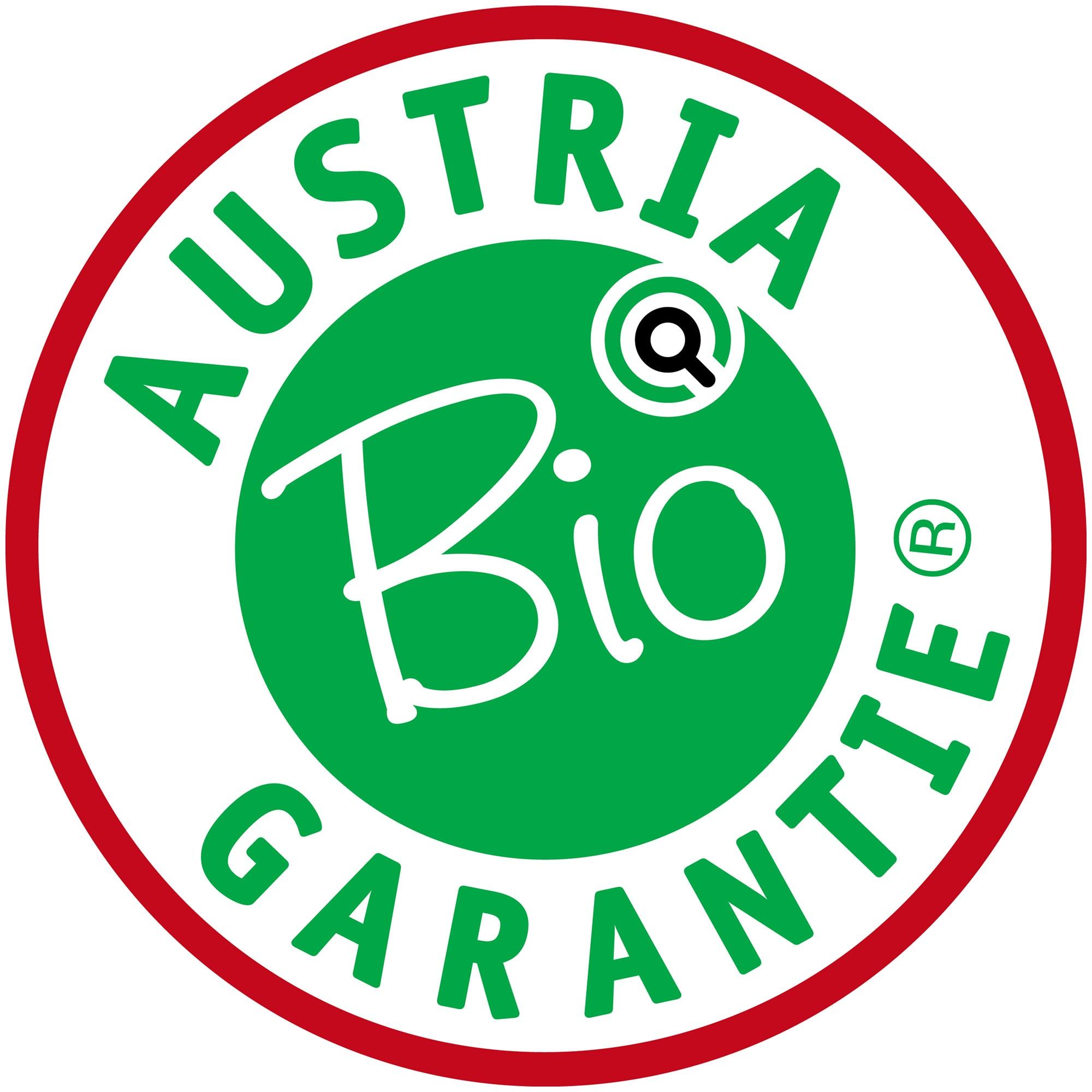 Rundes, grün-rotes Logo von Austria Bio Garantie