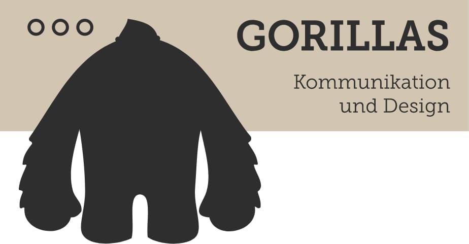 Silhouette von Gorilla neben Schriftzug von Gorillas Logo