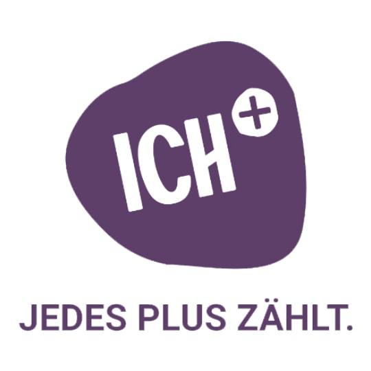 Violetter Farbklecks, ICH+ Logo
