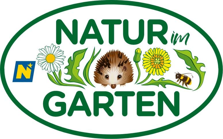 Grünes Logo mit Blumen, Biene und Igel in der Mitte von Natur im Garten