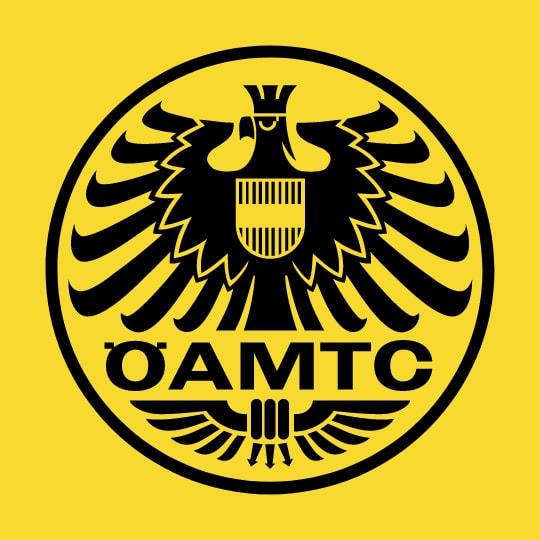 Gelbes Logo mit schwarzer Schrift von ÖAMTC