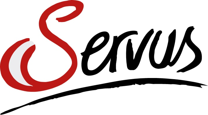 Logo of Servus Tv in black and red