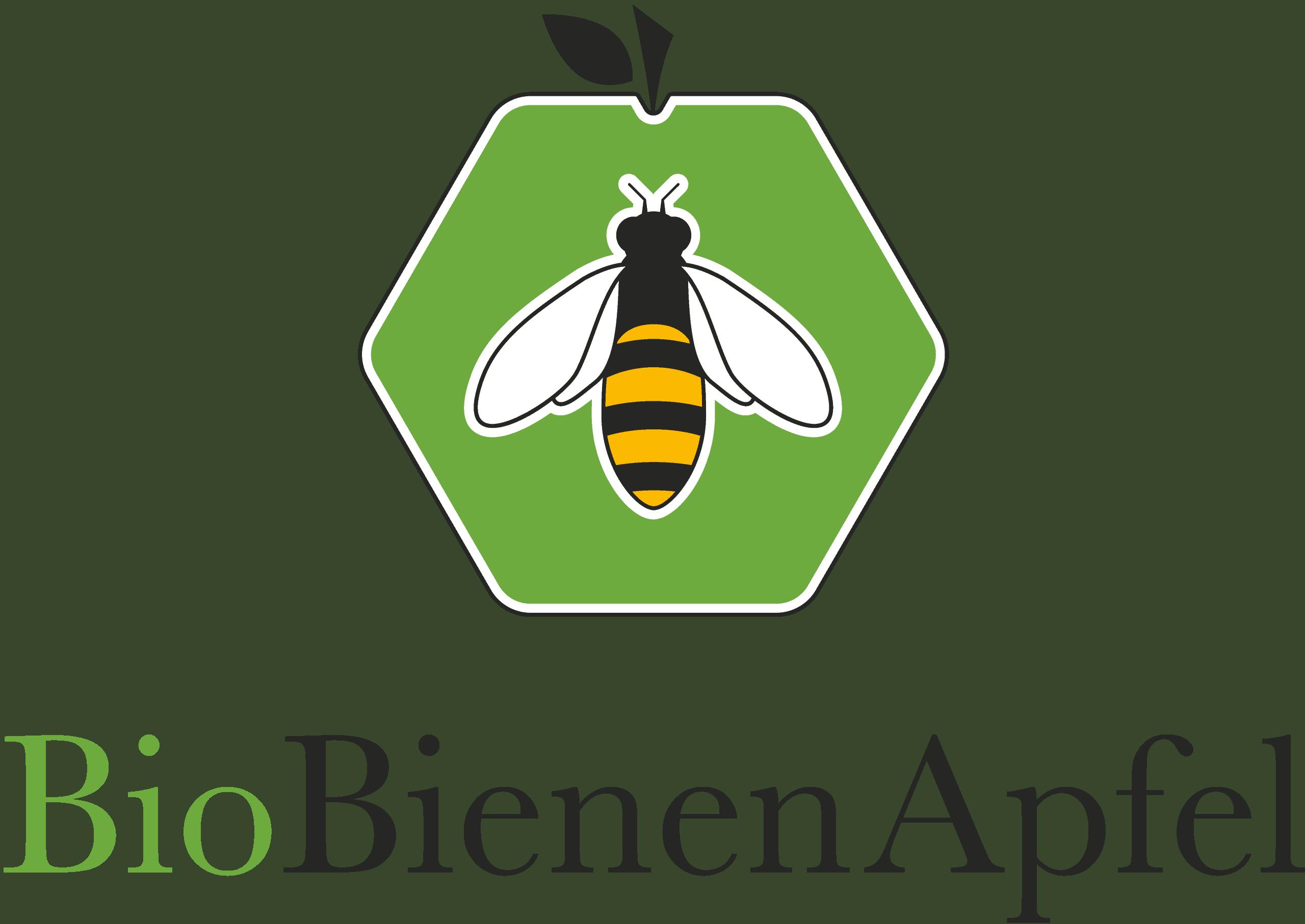 Grüner Apfel in Form einer Bienenwabe mit einer Biene in der Mitte, Logo von BioBienenApfel.